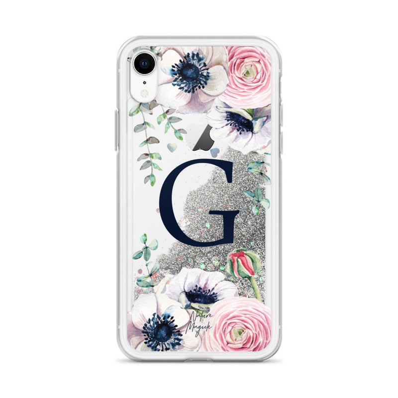 "Monogram Glitter iPhone Case Initial ""G"" Rose Floral by Nature Magick"