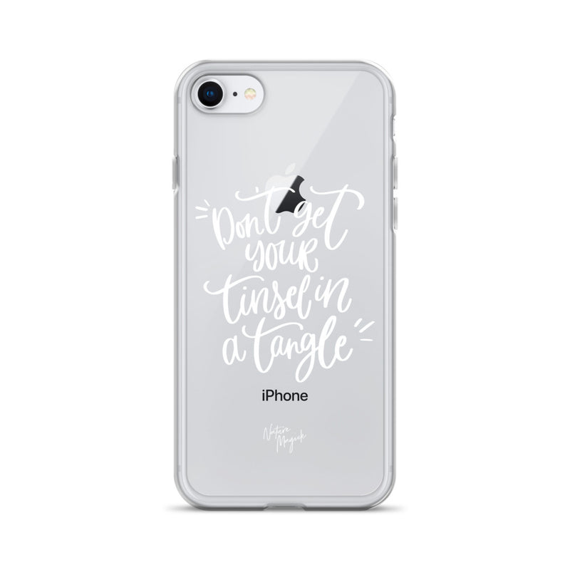 Clear Christmas iPhone Case Don't Get Your Tinsel in a Tangle by Nature Magick