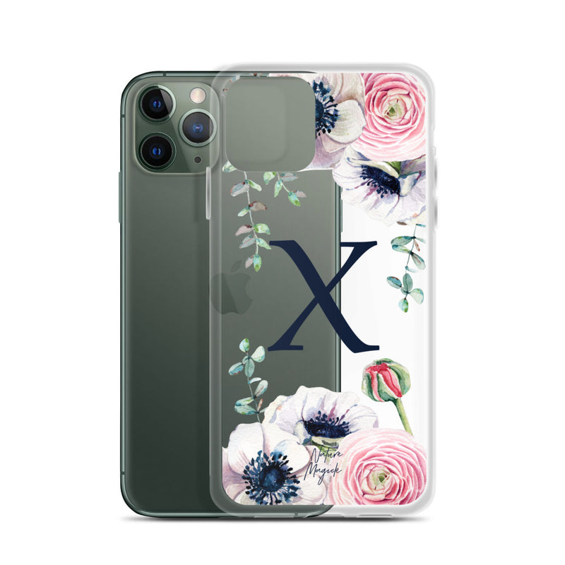 "Clear Monogram iPhone Case Initial ""X"" Rose Flowers by Nature Magick"