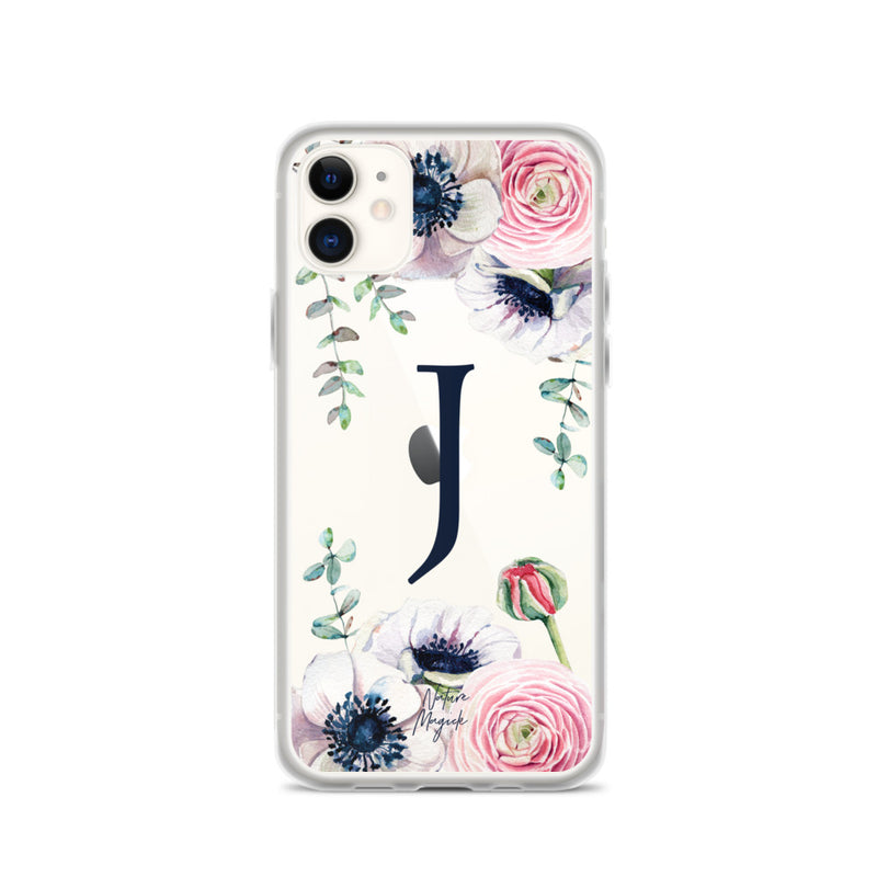 "Clear Monogram iPhone Case Initial ""J"" Rose Flowers by Nature Magick"