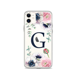"Clear Monogram iPhone Case Initial ""G"" Rose Flowers by Nature Magick"