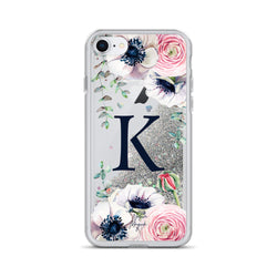 "Monogram Glitter iPhone Case Initial ""K"" Rose Floral by Nature Magick"