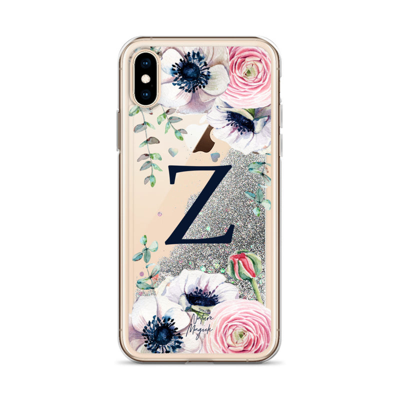 "Monogram Glitter iPhone Case Initial ""Z"" Rose Floral by Nature Magick"