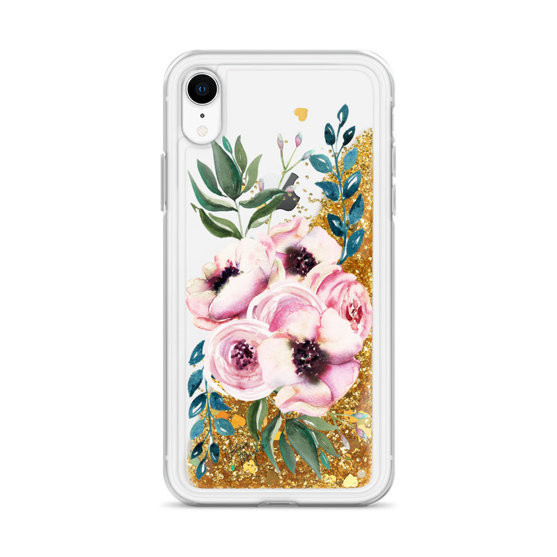 Flower Glitter iPhone Case Blue Rose by Nature Magick