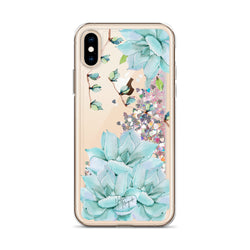 Succulent Glitter Phone Case for iPhone Turquoise Teal Blue by Nature Magick