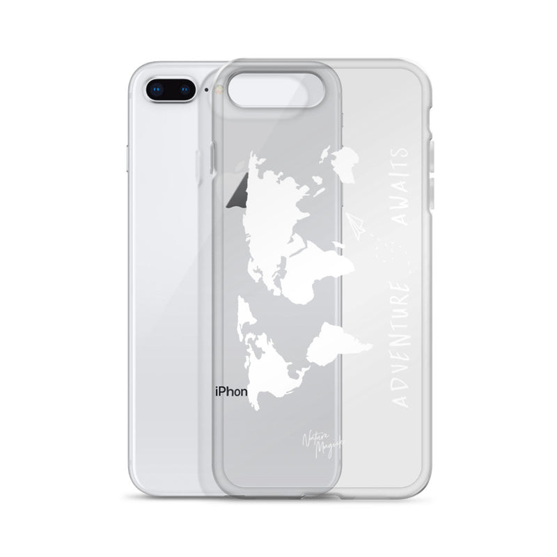 Clear World Map iPhone Case Adventure Awaits White by Nature Magick