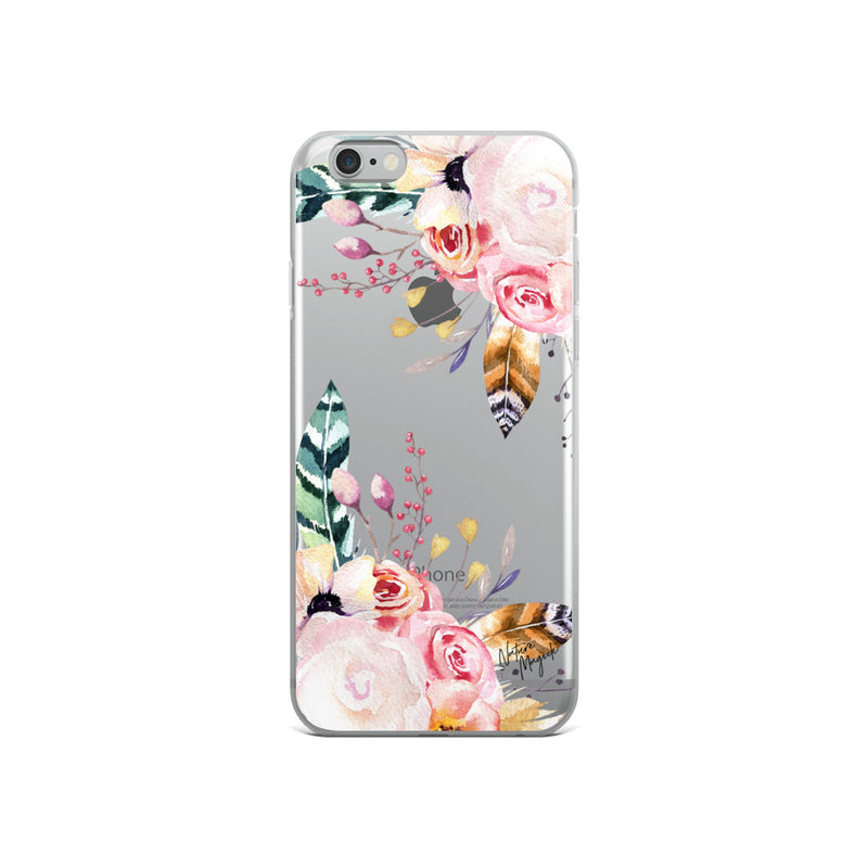 Clear Flower iPhone Case Pink Rose Feather by Nature Magick