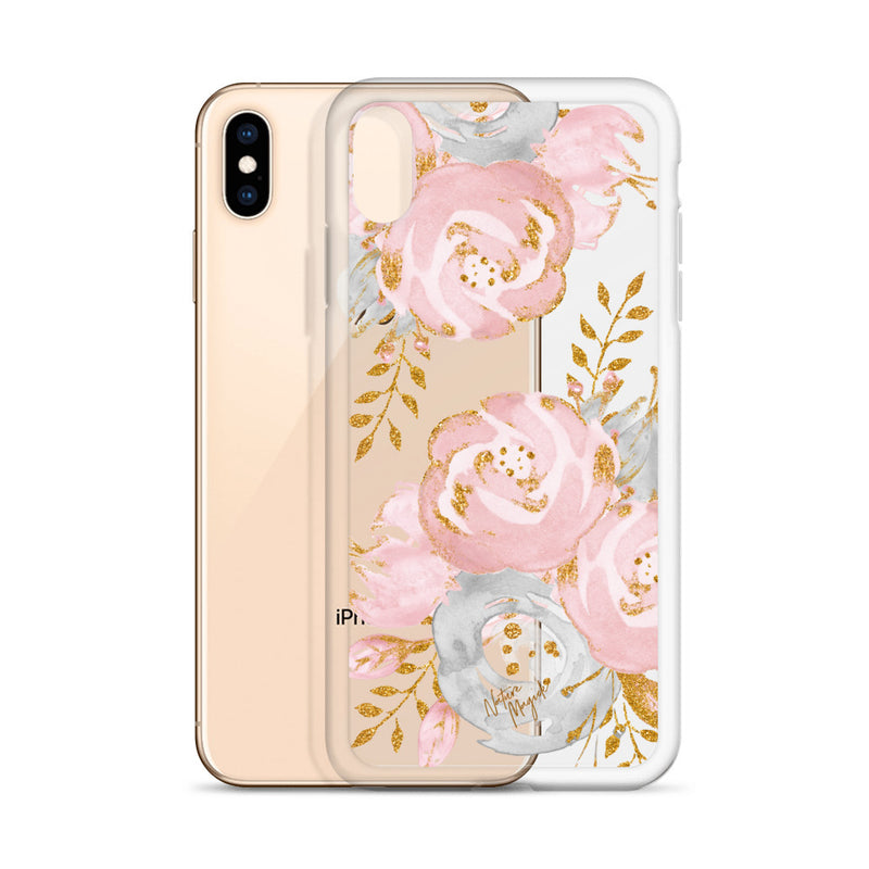 Clear Rose Gold iPhone Case Floral Pink by Nature Magick