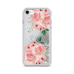 Rose Flower Glitter iPhone Case in Pink Roses by Nature Magick