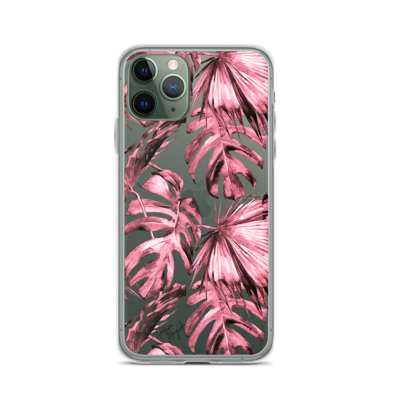 Clear Pink Red Palm Leaf iPhone Case by Nature Magick