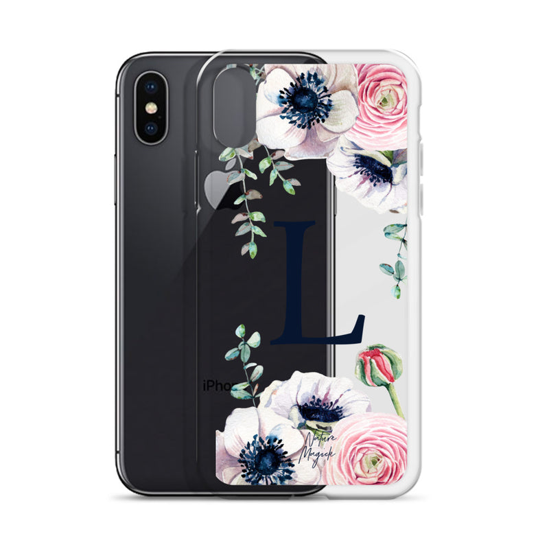 "Clear Monogram iPhone Case Initial ""L"" Rose Flowers by Nature Magick"