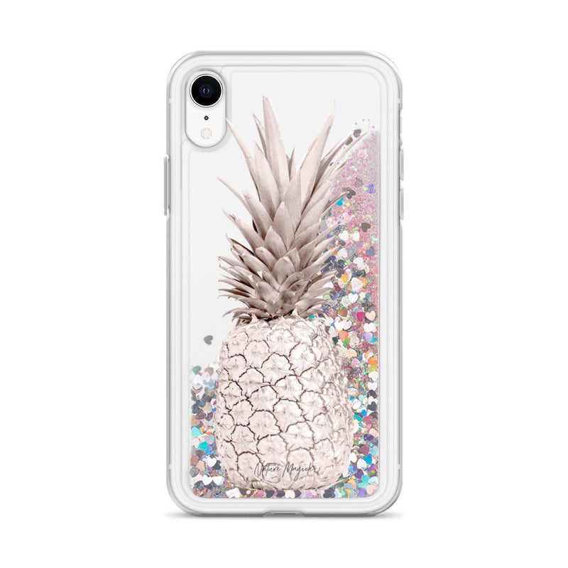 Rose Gold Pineapple Glitter iPhone Case Design by Nature Magick