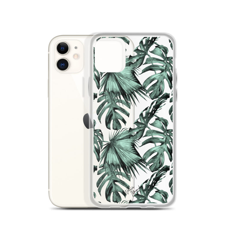 Clear Green Palm Leaf iPhone Case by Nature Magick