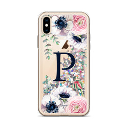"Monogram Glitter iPhone Case Initial ""P"" Rose Floral by Nature Magick"