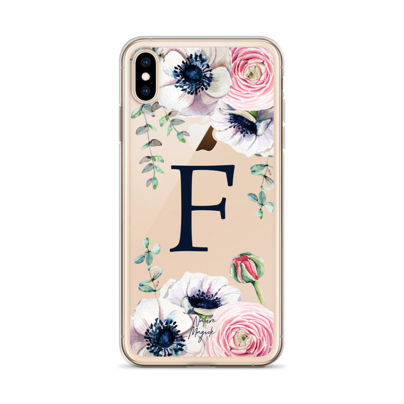 "Clear Monogram iPhone Case Initial ""F"" Rose Flowers by Nature Magick"