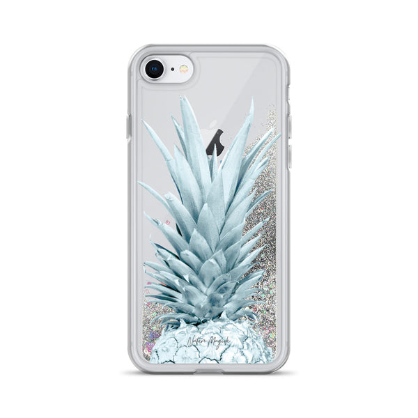 Pineapple Glitter iPhone Case Blue by Nature Magick