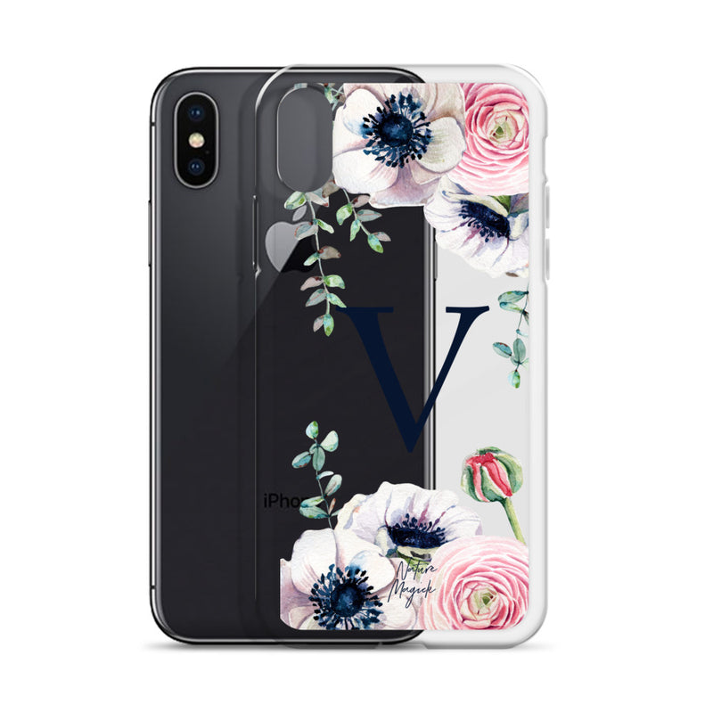 "Clear Monogram iPhone Case Initial ""V"" Rose Flowers by Nature Magick"