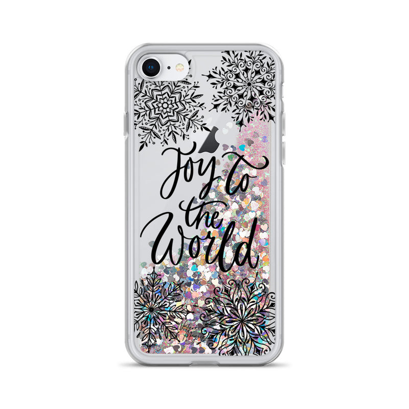 Christmas Glitter iPhone Case Joy to the World Snowflakes by Nature Magick