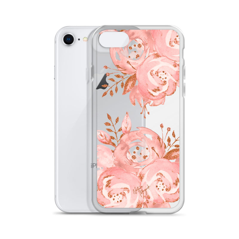 Clear Rose Gold iPhone Case Pink Flower by Nature Magick