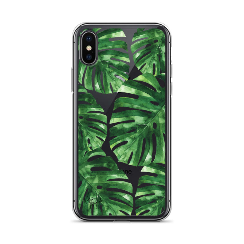Clear Palm Leaf iPhone Case Green by Nature Magick