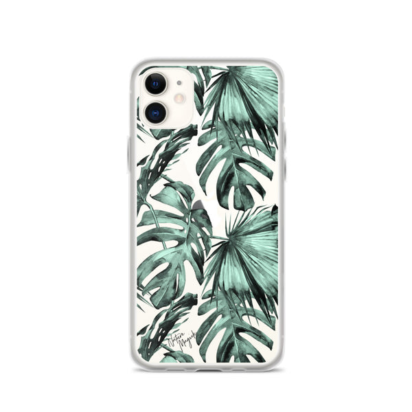 Clear Tropical Palm Leaf iPhone Case Green by Nature Magick