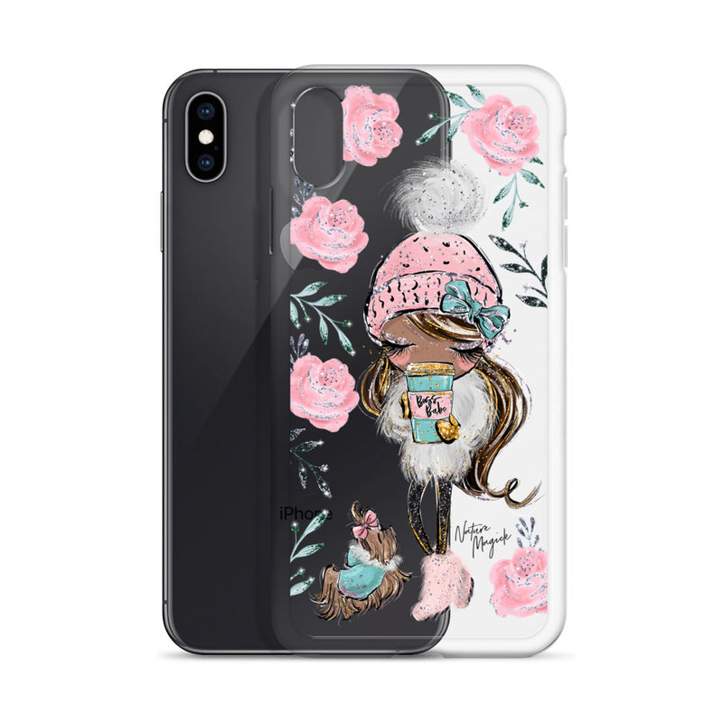 Clear Boss Babe iPhone Case Winter Rose by Nature Magick