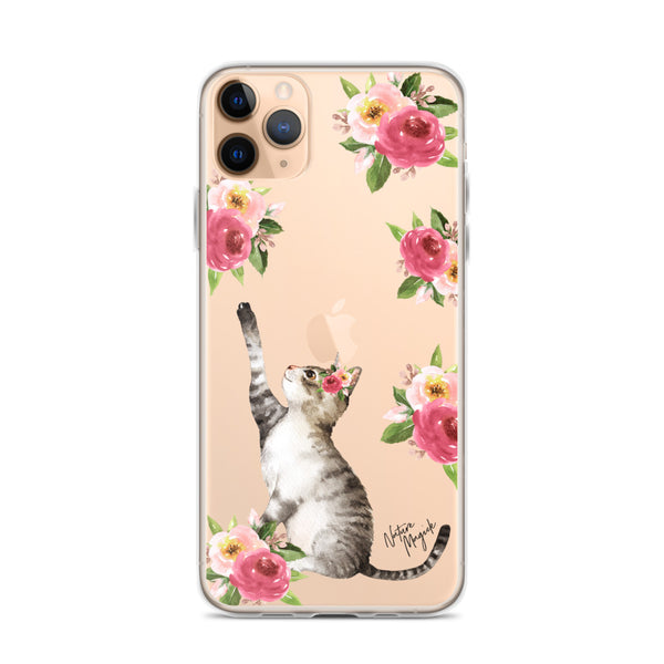 Clear Flower Cat Phone Case for iPhone by Nature Magick
