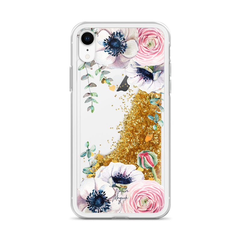Flower Glitter iPhone Case Rose Pink by Nature Magick
