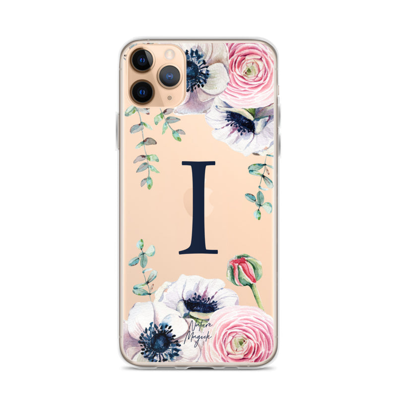 "Clear Monogram iPhone Case Initial ""I"" Rose Flowers by Nature Magick"