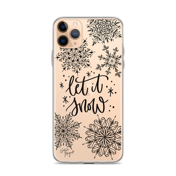 Clear Christmas iPhone Case Let it Snow by Nature Magick