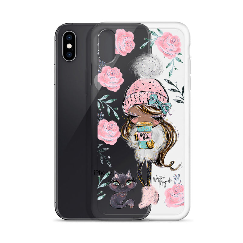 Clear Boss Babe iPhone Case Winter Cat Walk by Nature Magick