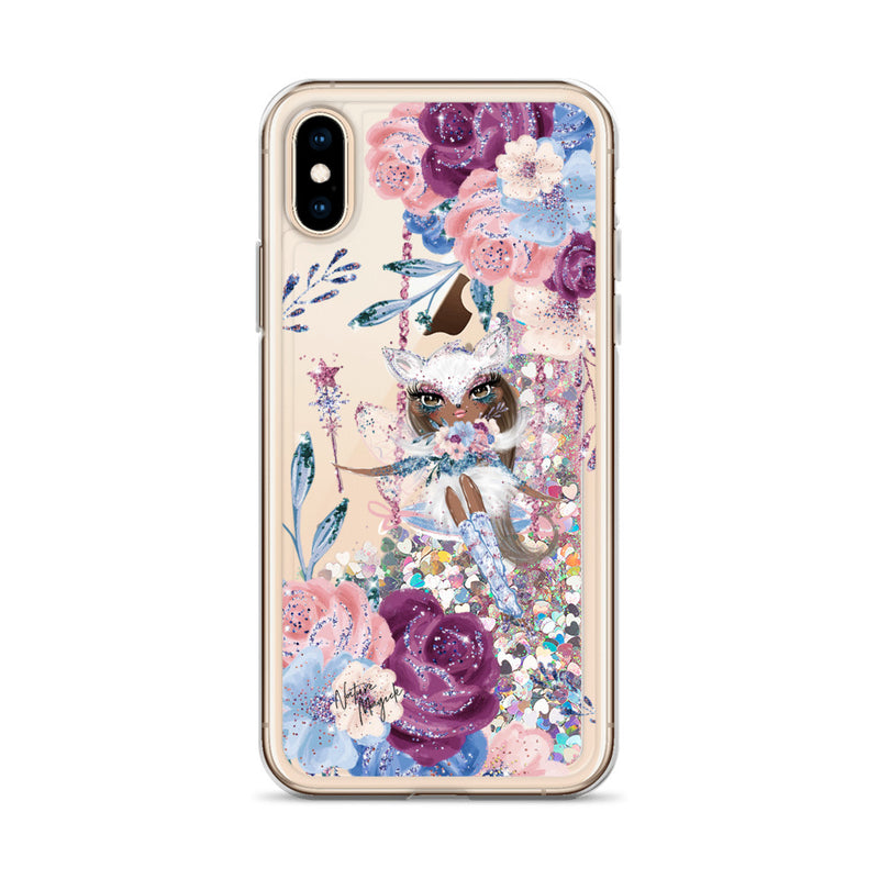 Winter Fox Fairy Flower Glitter iPhone Case by Nature Magick