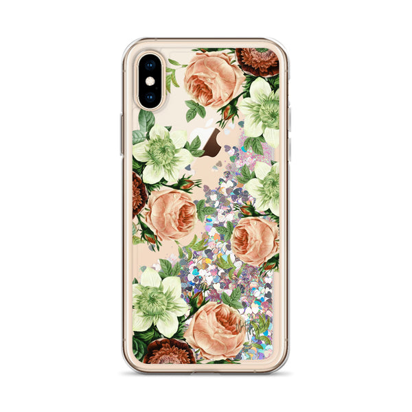 Vintage Floral Glitter iPhone Case Red Flowers by Nature Magick