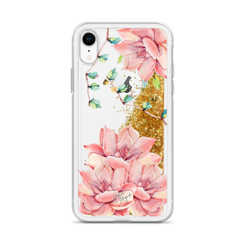 Succulent Glitter Phone Case for iPhone Pink by Nature Magick