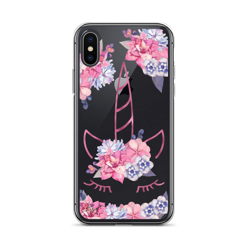Clear Unicorn iPhone Case by Nature Magick in Purple Pink Floral