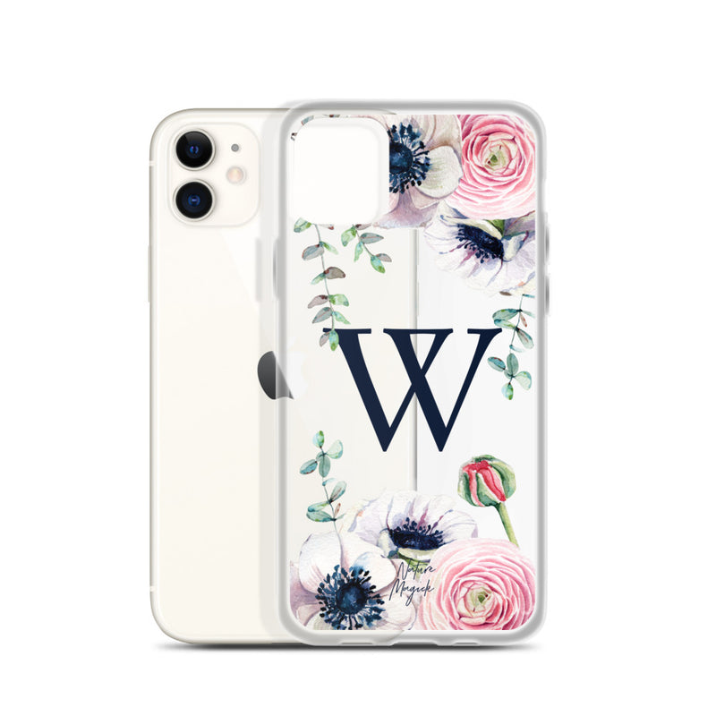 "Clear Monogram iPhone Case Initial ""W"" Rose Flowers by Nature Magick"