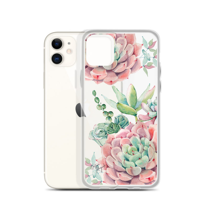 Clear Pink Succulents iPhone Case by Nature Magick