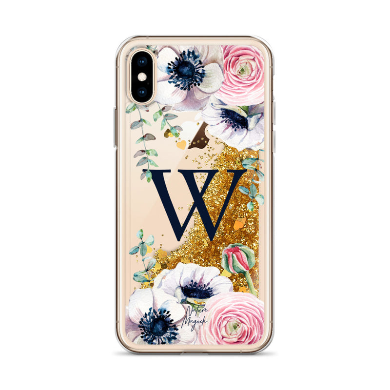 "Monogram Glitter iPhone Case Initial ""W"" Rose Floral by Nature Magick"