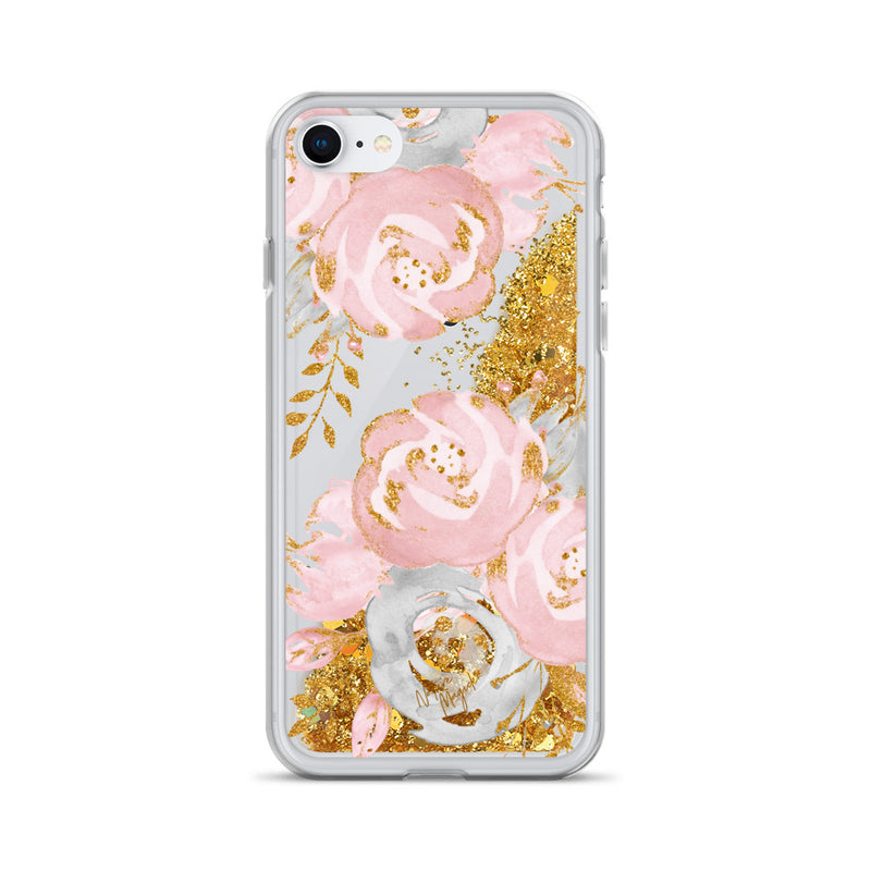 Rose Gold Glitter iPhone Case Floral Pink by Nature Magick