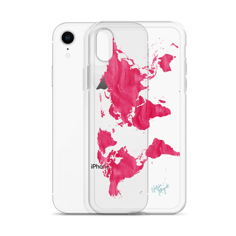 Clear World Map iPhone Case in Pink by Nature Magick