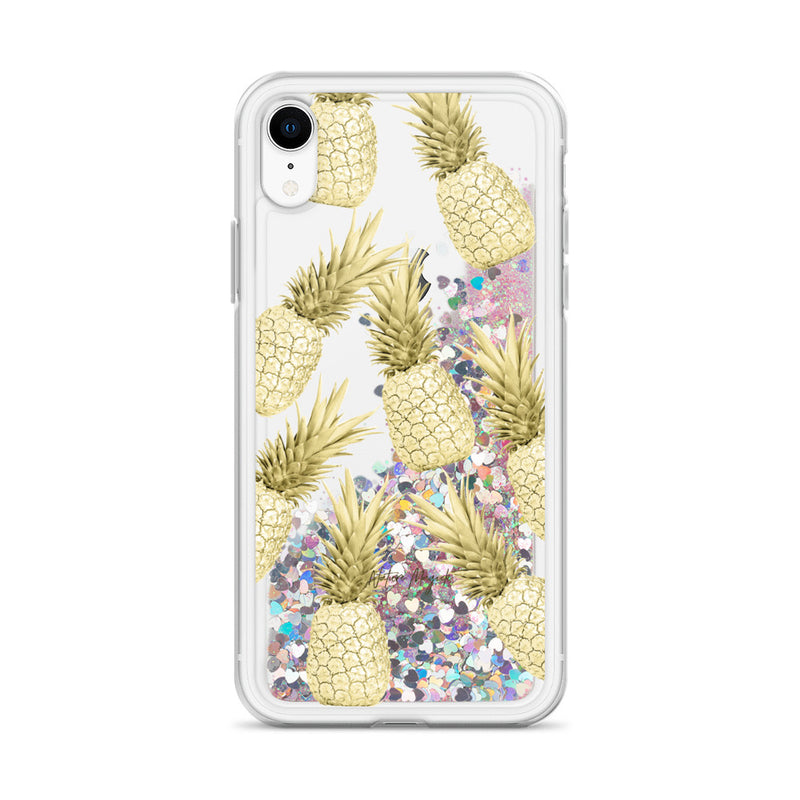 Gold Pineapples Glitter iPhone Case by Nature Magick