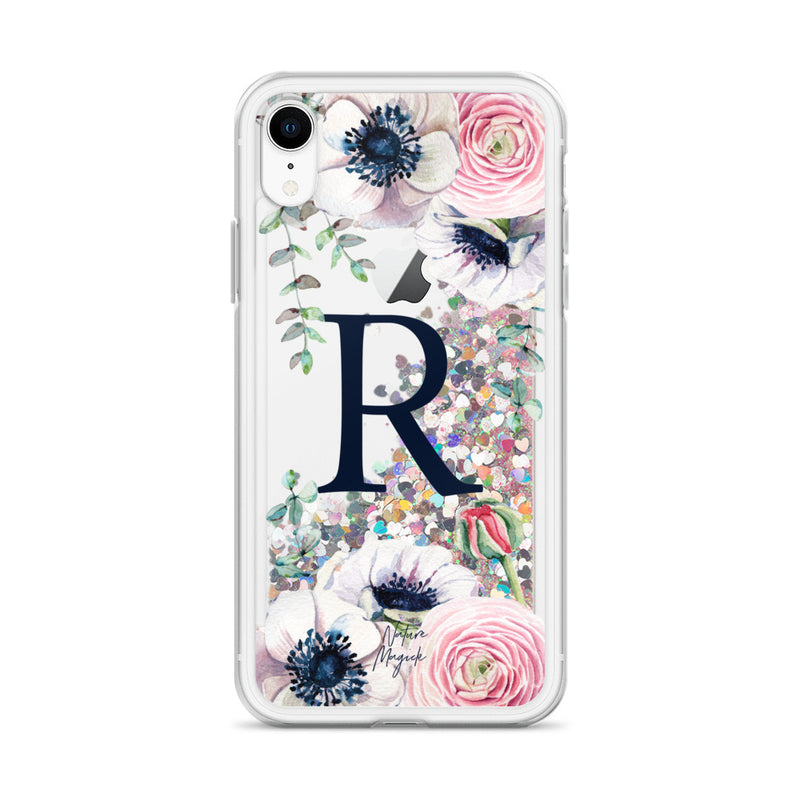 "Monogram Glitter iPhone Case Initial ""R"" Rose Floral by Nature Magick"