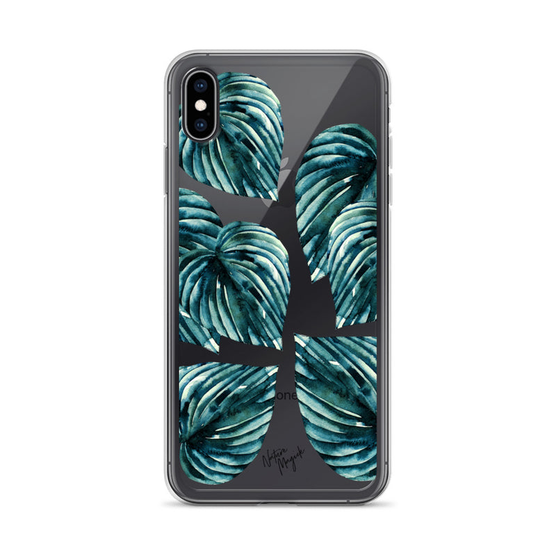 Clear Teal Palm Leaf iPhone Case by Nature Magick