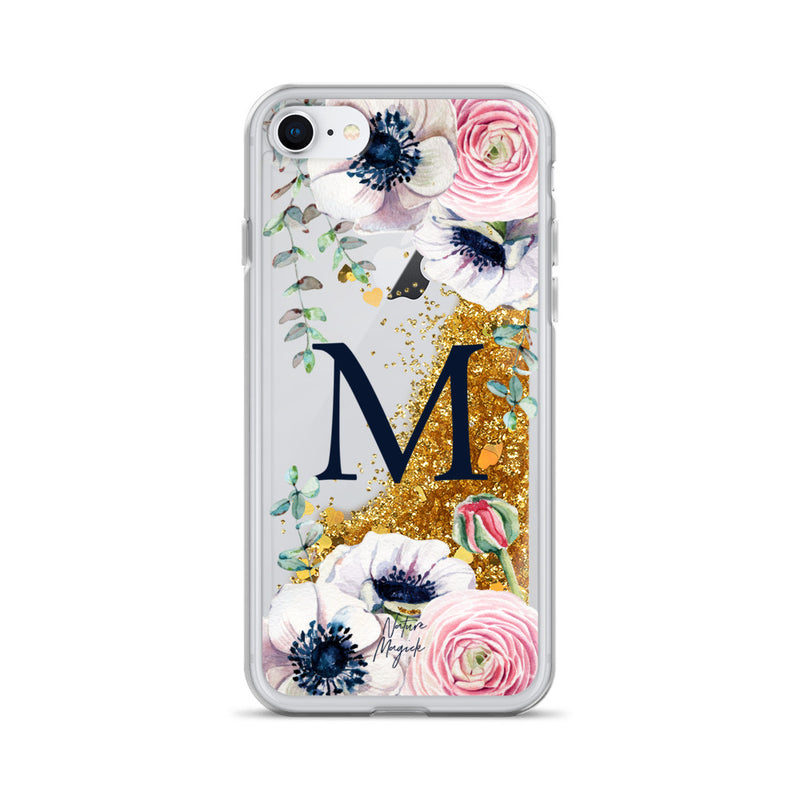 "Monogram Glitter iPhone Case Initial ""M"" Rose Floral by Nature Magick"