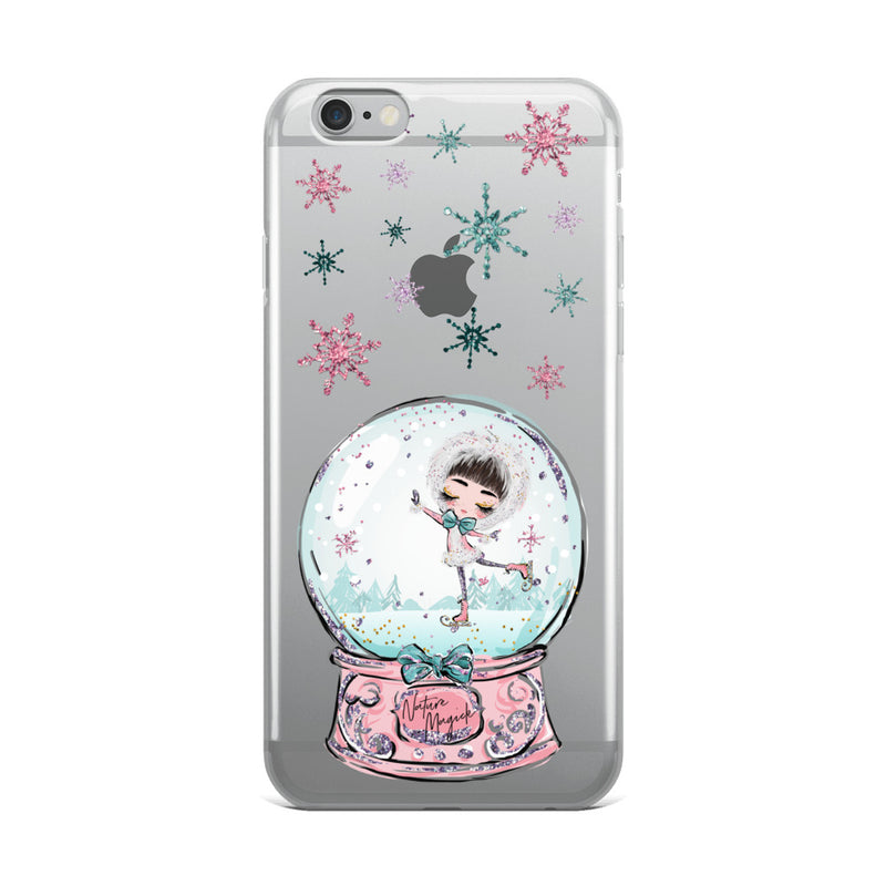 Clear Christmas Snow Globe iPhone Case Ice Skating by Nature Magick