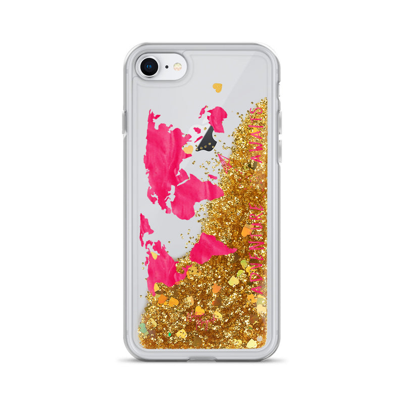World Map Glitter iPhone Case Adventure Awaits Pink by Nature Magick