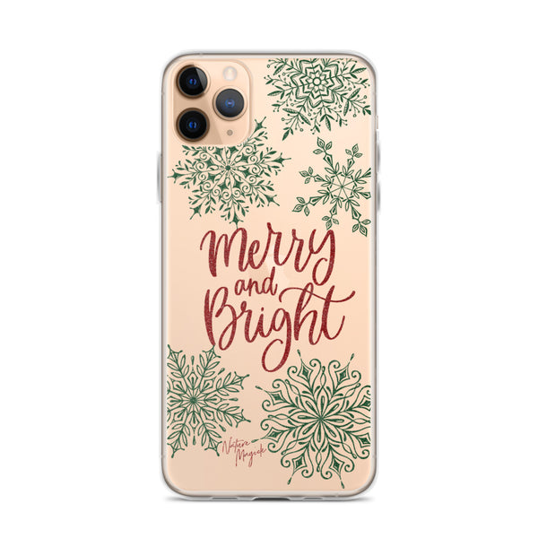 Clear Christmas iPhone Case Merry and Bright Snowflakes by Nature Magick