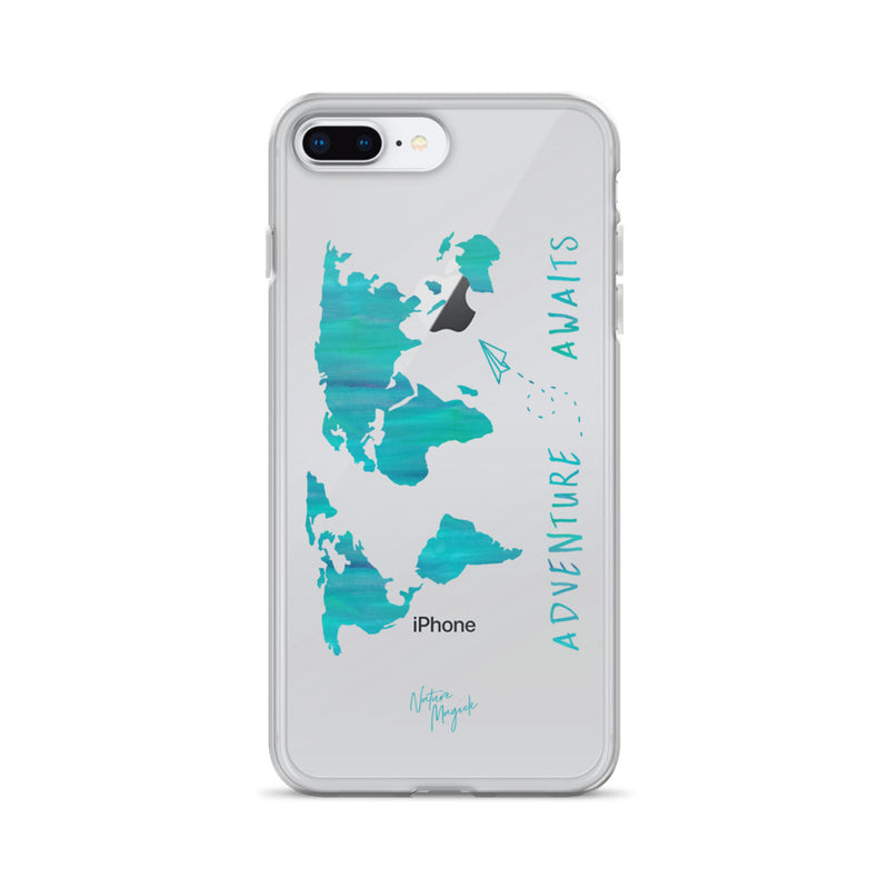 Clear World Map iPhone Case Adventure Awaits Teal by Nature Magick
