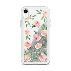 Floral Glitter iPhone Case Rose Pink Flowers by Nature Magick