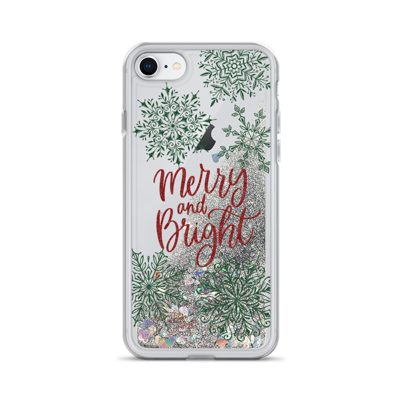 Christmas Glitter iPhone Case Merry and Bright Snowflakes by Nature Magick